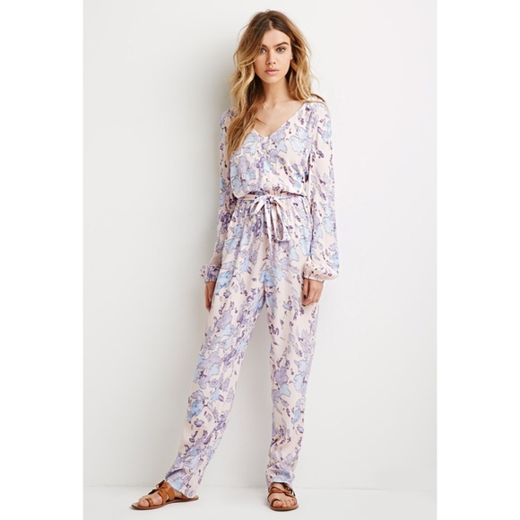 harmonious colors 100% satisfaction guarantee new arrival NWT Belted Floral Pastel Print Jumpsuit NWT